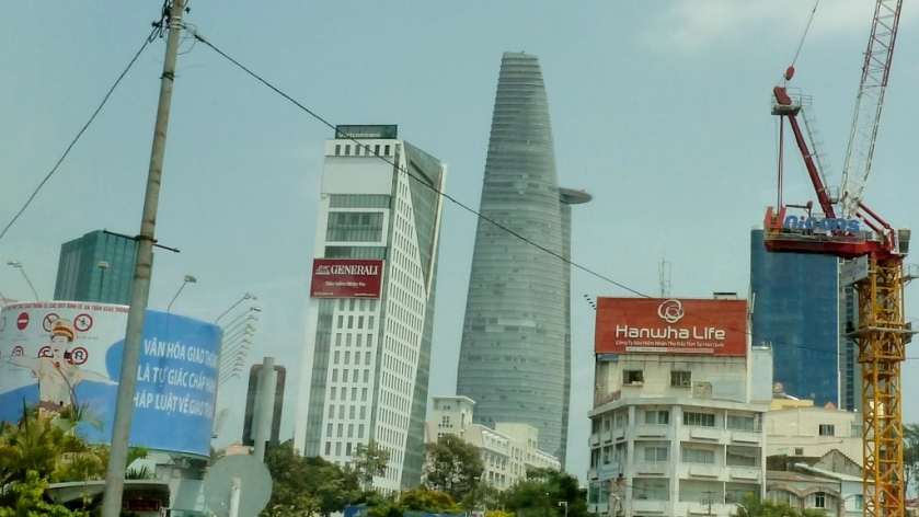 Cool building in downtown Saigon with a helipad on the side!