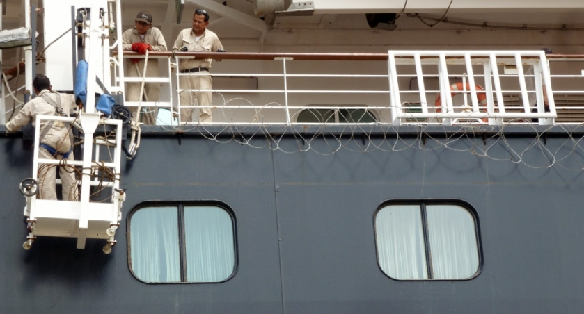 razor wire being strung for our sail thru a