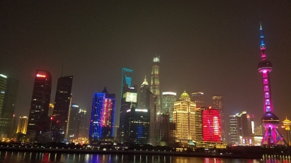 Shanghai buildings lit at night