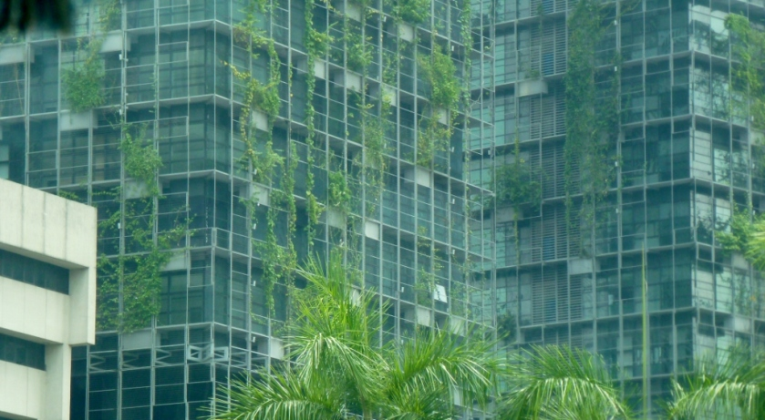 Interesting high rise building growing greenery on its side!
