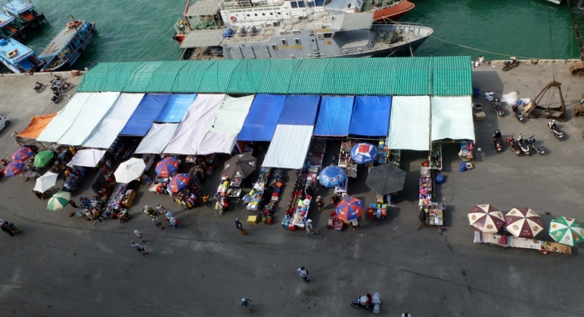 Vendors stalls on the dock in Nha Trang, Vietnam