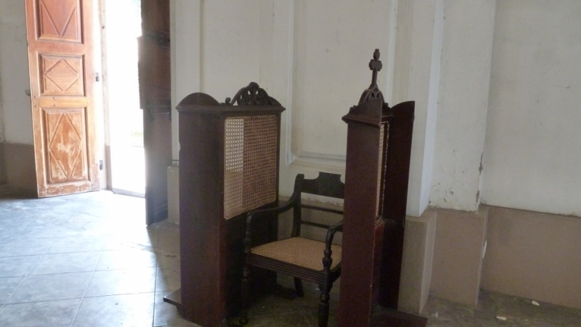 the confessional at St. Lucie's church
