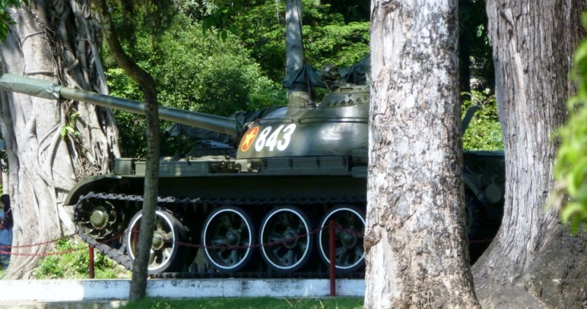 A tank on the grounds of Reunification Hall in Saigon, Vietnam
