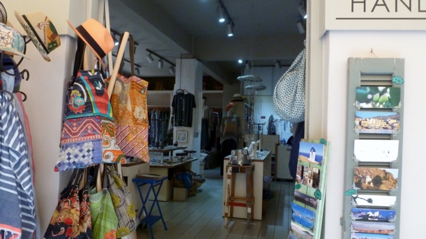 Shopping in Aegina, Greece.