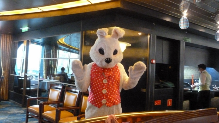 We were in Casablanca on Easter Sunday.  The Easter bunny joined us for dinner.