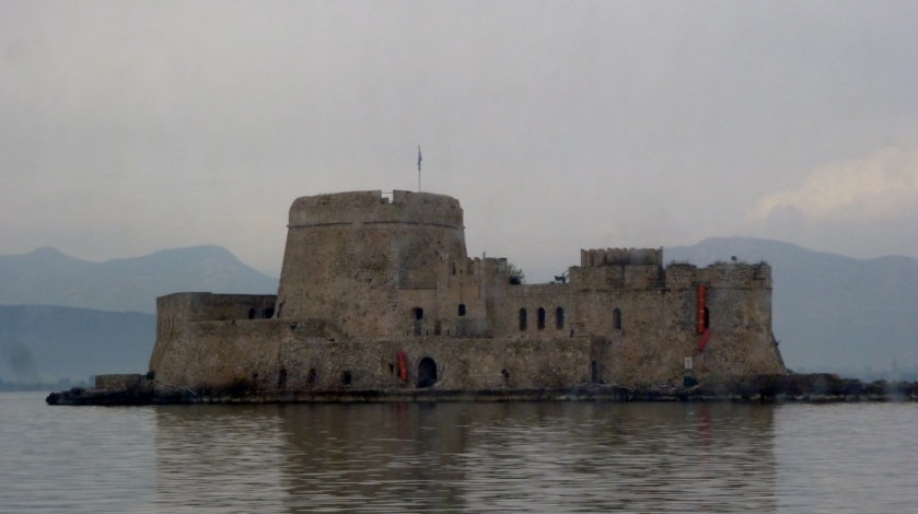 Bourtzi Castle on an island in the harbor in Nafplion, Greece.