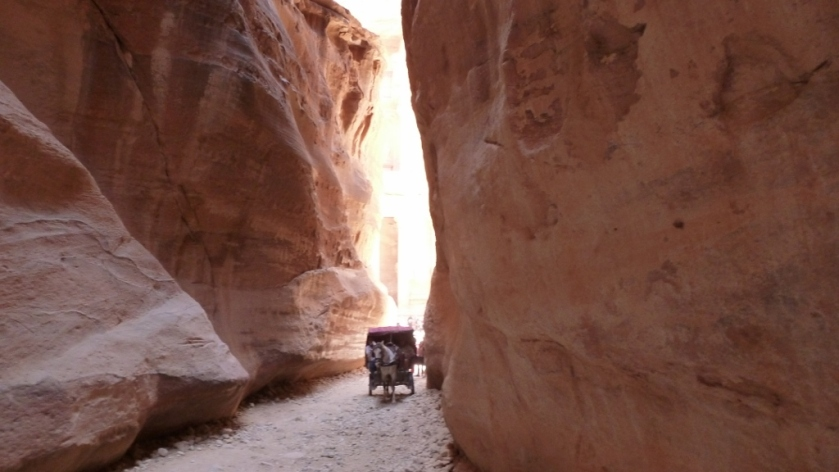 Horse drawn cart approaches in the Siq.