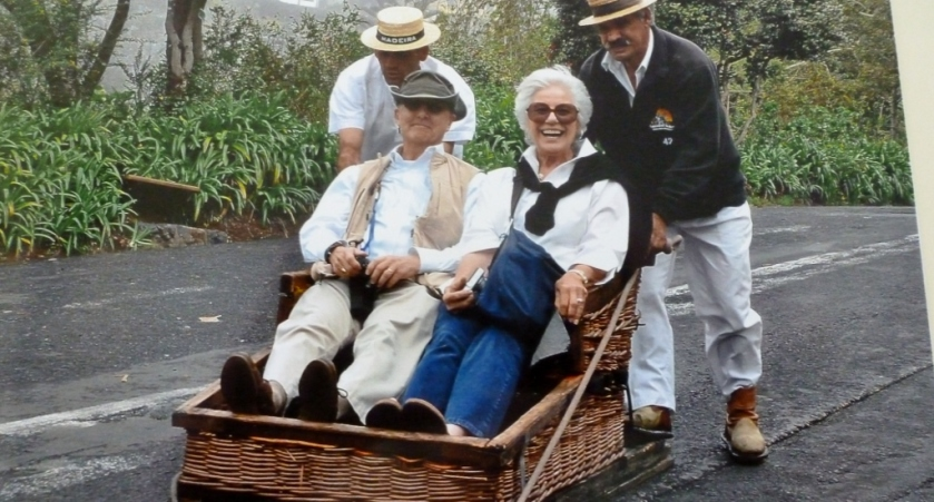 Sleigh ride in Funchal.  FUN!