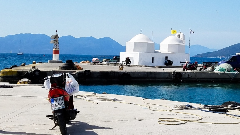 Chapel of Agios Nikolaos on the dock in Aegina, Greece