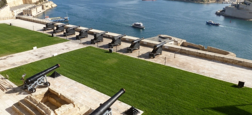 The Saluting Battery at Upper Barrakka Gardens in Valletta, Malta.