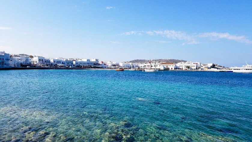 The Old Port in Mykonos, Greece.