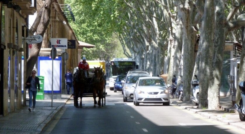 A horse & carriage coming up the La Rambla.
