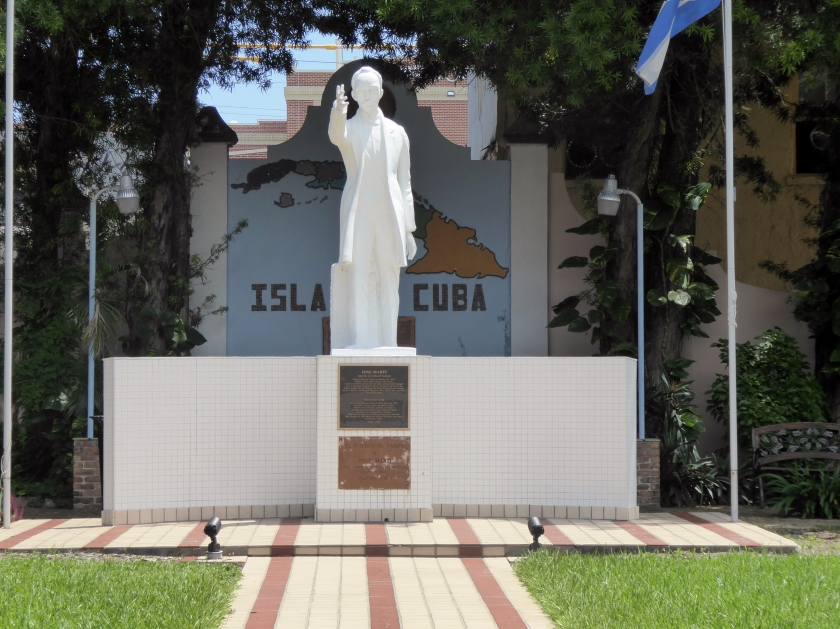Statue of Jose Marti in the tiny Tampa park that belongs to Cuba.
