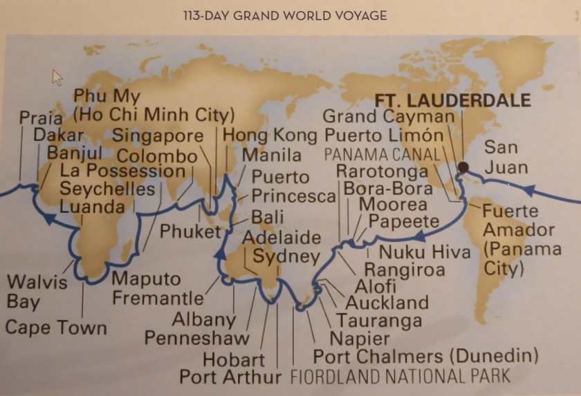 2018 HAL World Cruise itinerary