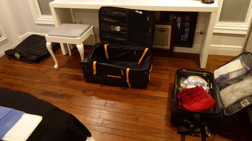 3 pieces of luggage will stack into one and roll under the bed.