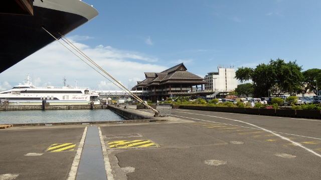 The ferry terminal is right next to the dock.  Just a short walk away.