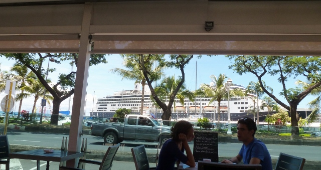 MS Amsterdam docked in Papeete as seen from the cafe at Vaima Mall