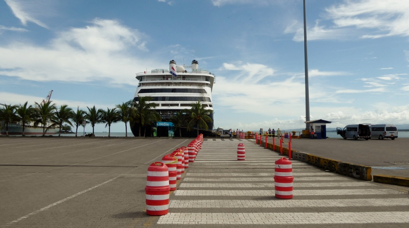 The MS Amsterdam docked in Puerto Limon, Costa Rica