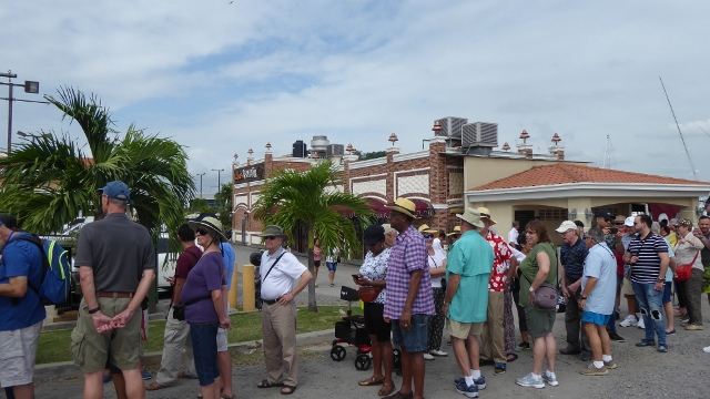 All the happy passengers waiting for the shuttle into Panama City.