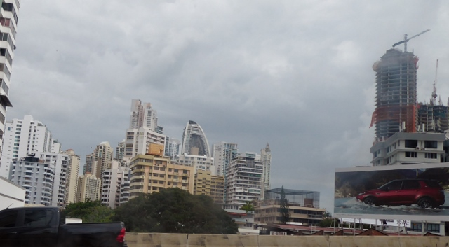That funny sail-looking building in the center is the Panama Trump Tower.