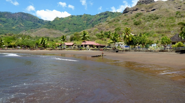 A beach near the tender dock at Nuku Hiva.