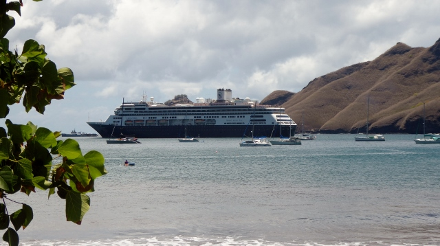 MS Amsterdam anchored in the Bay of Taiohea.