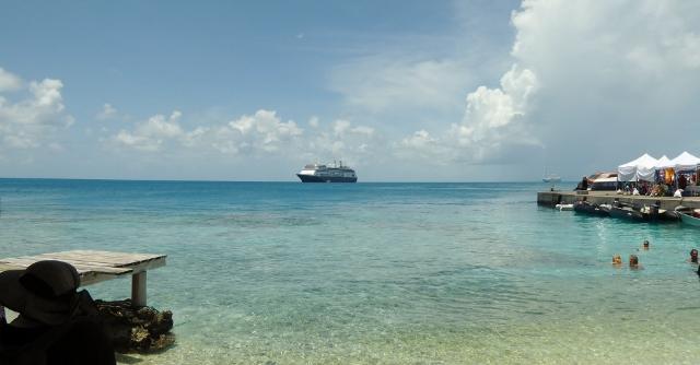 The MS Amsterdam at anchor in Avatoru, Rangiroa, French Polynesia.