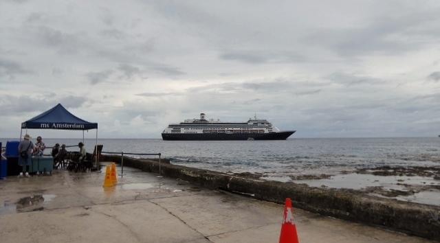 The MS Amsterdam at anchor in Alofi, Niue.