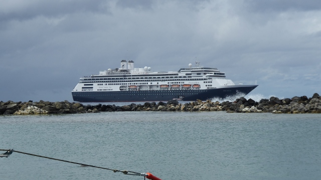 The MS Amterdam anchored outside the breakwater in Rarotonga.