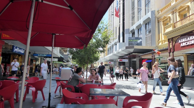 Walking along the Rundle Street Mall.