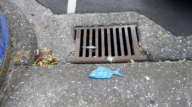 storm drain with decorative signage