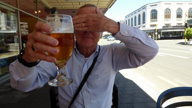 Being silly while enjoying a local brew from the Zealandt Brewery