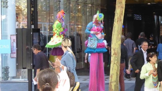 Street performers in Hay Street Pedestrian Mall