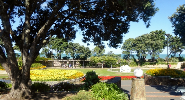 The sunken gardens along Marine Parade.