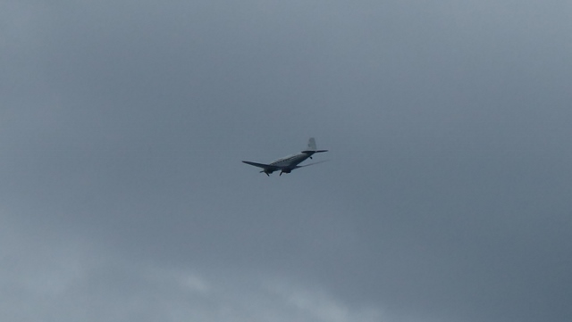Old aircraft flies overhead.  Rog thought it might be a C-46.