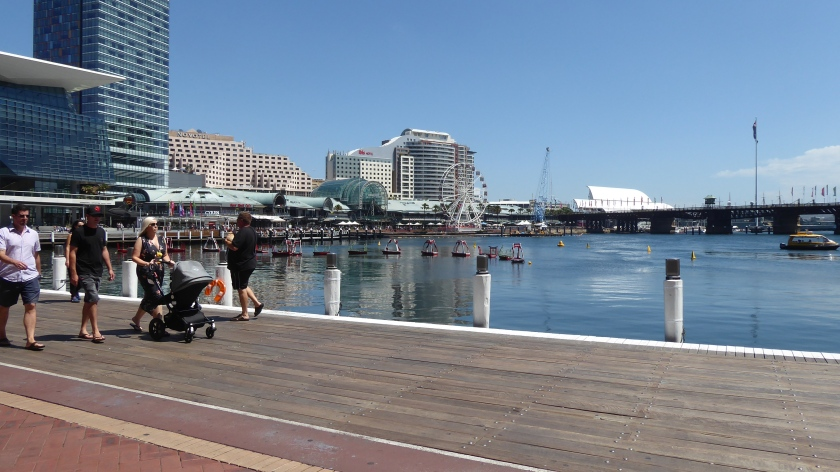 Walking along Darling Harbour.