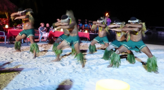 Tahitian warriors look fierce.