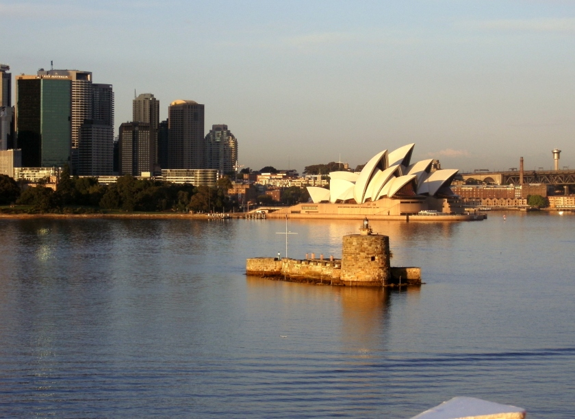 Approaching Sydney Harbor/Sydney Opera House and old Ft. Dennison.