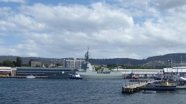 Ship of the Australian Navy departing the Hobart Port