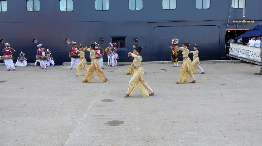 As is often customary, our ship is welcomed by local performers.