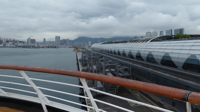 On the dock in Hong Kong at the Kai Tak Cruise Terminal.