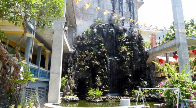 Waterfall at Chua Linh Son Temple.