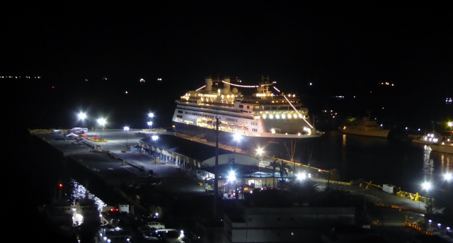 View of the MS Amsterdam, at night, from room 1323 in the Manila Hotel.