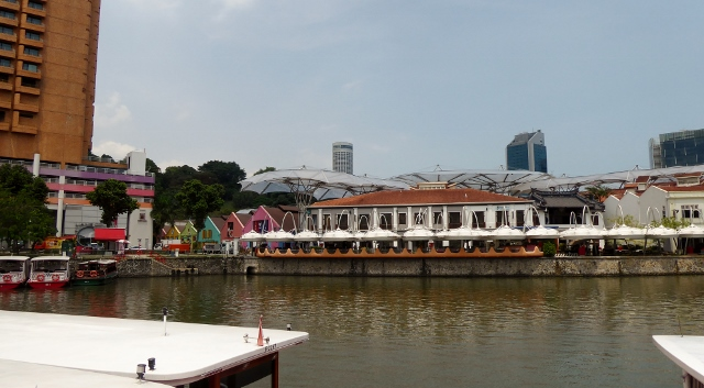 View of Clarke Quay from the Singapore River.