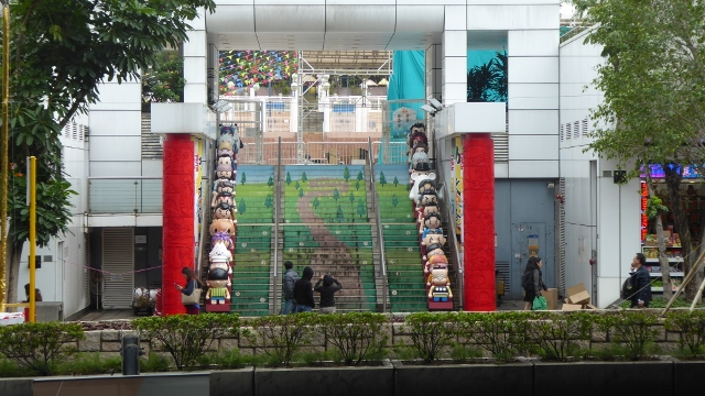 These dolls mark the way up to the Avenue of Comic Stars in Kowloon Park.