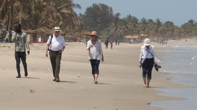 Walking along Kotu Beach.