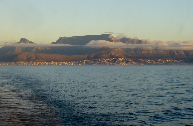 Looking back at Table Mountain as we sail away from Cape Town.