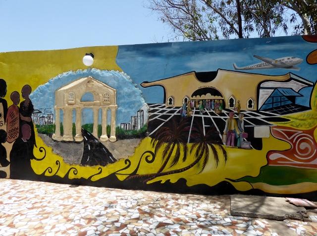 Eye-catching wall mural.