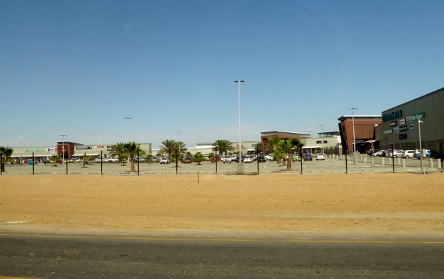 Arriving at the Dunes Mall, located at the very edge of the Namib Desert.
