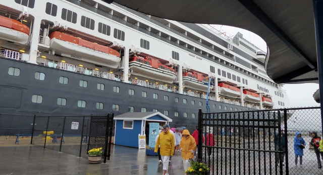 The MS Rotterdam docked in Sydney, Nova Scotia on a very wet day.